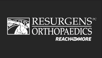 Grey logo with white text: Resurgens Orthopaedics–Reach for More. Image of a man throwing a discus.