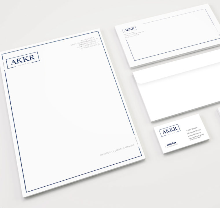A set of sample stationary for professional letterhead.