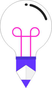 A lightbulb with a pink filament. The bottom of the lightbulb is blue and pointed.