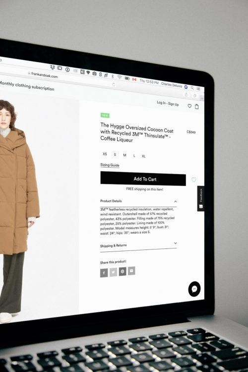 An ecommerce listing from Frank and Oak. It's an oversized brown puffer coat.