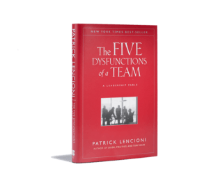 Book cover for The Five Dysfunctions of a Team. The cover is red with a photo of businesspeople.